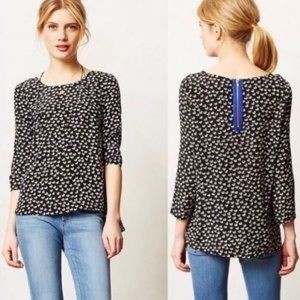 ANTHROPOLOGIE Maeve Linosa Top Black White Hearts
